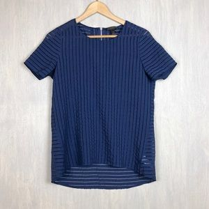 J. Crew shadow stripe top blue zipper sheer 4